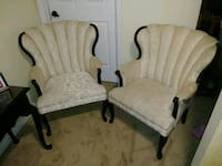 Two wooden framed white padded armchairs Memphis, 38016