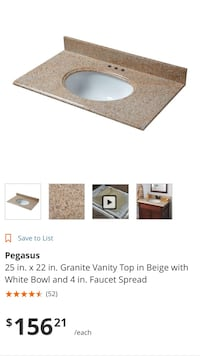 "Granite Vanity Top w/ White Sink & 4"" Faucet Spread"