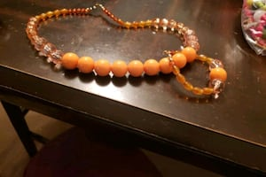 orange and coral necklace set