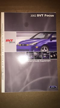 2002 Ford Focus SVT Owners Guide Supplement Commerce Township, 48382