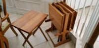 Solid oak tray tables with stand Davenport, 33896