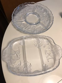2 Large Floral Glass Serving Trays