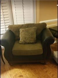 brown and black fabric sofa chair ASHBURN