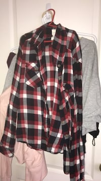 red, black, and white plaid dress shirt Coquitlam, V3E 2T7