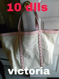 white and pink leather tote bag Aurora, 80012