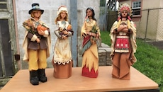 """Thanksgiving figurines 11"""" tall"""