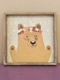 Bear with flowers wall art