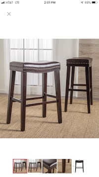30-inch Saddle Studded Faux Leather Bar Stools (Set of 2) District Heights, 20747