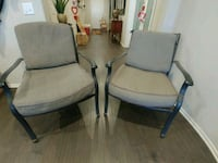 two black metal framed gray padded armchairs Riverside, 92503