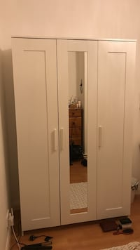 White wooden wardrobe with mirror from Ikea (bought for £140) London, NW3