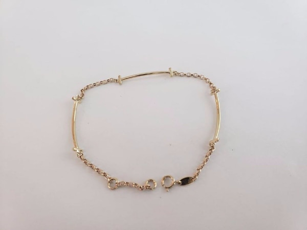 10k Yellow Gold Bar Section Bracelet d0b862f2-0608-41a5-afe2-61b8c1f01f8c
