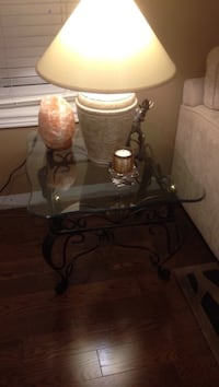 Wrought iron/glass top side table. 2 of them. Toronto, M6G 3E2