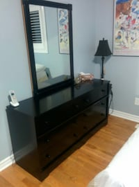 Wooden black dresser with 6 drawers and mirror Ajax, L1T 3K3