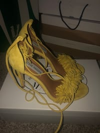 Pair of yellow leather open toe ankle strap heels Upper Marlboro, 20774