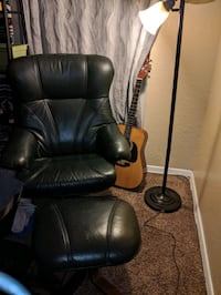 Leather armchair and w/ottoman