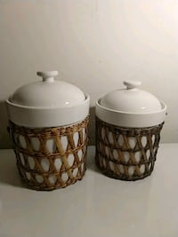 Pair of Ceramic Kitchen Canisters, White Woodbridge