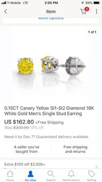 0.15ct Yellow Canary Diamond Earring Stud Los Angeles, 91352