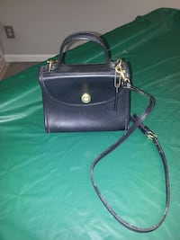 black leather Coach two way bag