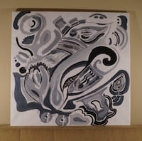 Black and White Abstract Painting on Canvas by Tom G Grosse Pointe Park, 48230