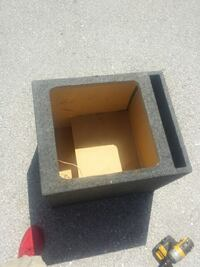 grey and brown subwoofer box