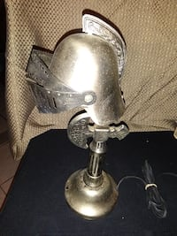 ANTIQUE RARE METAL KNIGHT'S ARMOR DESK /TABLE LAMP 14 IN TALL ORIGINAL Johnston, 02919