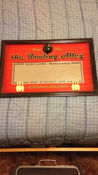 Brown wooden framed the bowling alley poster Visalia, 93291