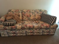 brown and pink floral fabric 3-seat sofa Raleigh, 27613