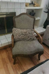 brown wooden frame gray padded armchair Tampa, 33624