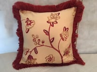 Throw Pillow: Beige/Gold/Cranberry with Trim Lansdowne