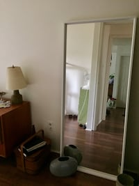 *pending pick up* White wooden mirror Vancouver, V5Y 1T6