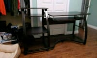 black metal framed glass top TV stand Kitchener, N2E 3M2