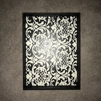 Black and white damask tray