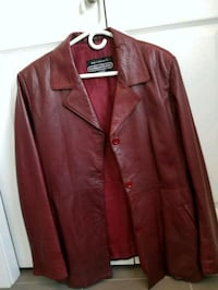 brown leather button-up jacket