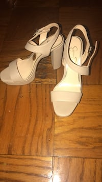 Pair of beige leather open-toe ankle strap heels Cayce, 29033