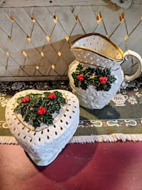 Christmas candy dish and matching pitcher