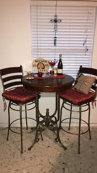 Round brown wooden table w/ 2 chairs dining set
