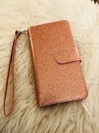 Glittery rose gold phone case and wallet case.