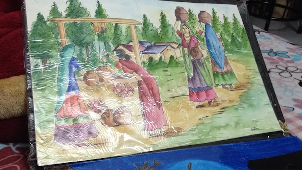 Four women carrying jars near house painting