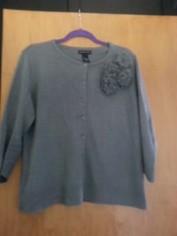 grey button up floral cardigan
