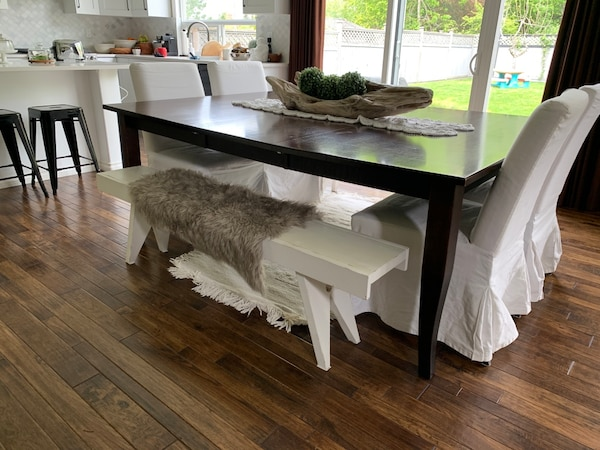 Solid wood rectangle 10 seater table or square eight seater table