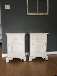 Two white French Vintage wooden nightstands Toronto, M5C 2R4