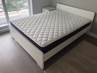 IKEA Queen bed (matress and frame together), white Delta, V4C