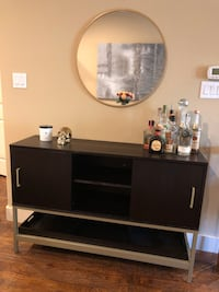 Dark wood credenza with matte gold finishing   Dallas, 75219
