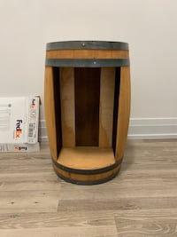 Wood barrel with many uses cases.  Wine rack, Side table, night stand, decor