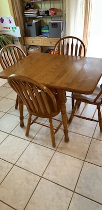 rectangular brown wooden table with four chairs dining set Edmond, 73013