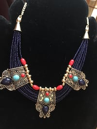Solid Brass Lapis and Turquoise Gemstone and Bead Necklace  Farmington, 03835