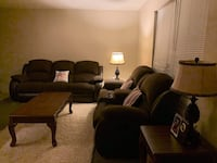 Recliners set with 2 side tables, 2 lamps and a center table. These are slightly used and still in very good condition. I paid $4000 for this set and didn't use it much because we are always away from home. It is still in perfect, like brand new condition
