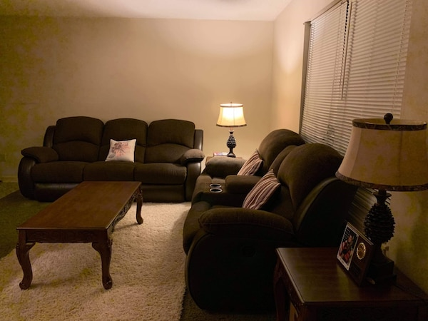 Recliners set with 2 side tables, 2 lamps and a center table. These are slightly used and still in very good condition. I paid $4000 for this set and didn't use it much because we are always away from home. It is still in perfect, like brand new condition bcbb90a4-74fd-47b2-80e5-5e56dba3bfe8
