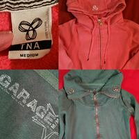 two green and red TNA Aritzia zip-up hoodies collage