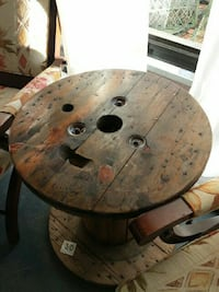 Cable spool coffee table by Wood Imagination